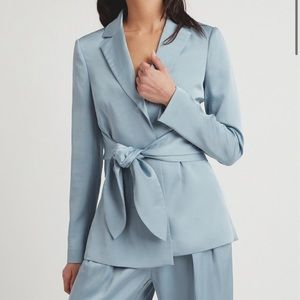 Blue blazer with tie detail